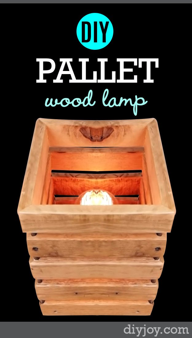 DIY Living Room Decor Ideas - DIY Pallet Wood Lamp - Cool Modern, Rustic and Creative Home Decor - Coffee Tables, Wall Art, Rugs, Pillows and Chairs. Step by Step Tutorials and Instructions http://diyjoy.com/diy-living-room-decor-ideas