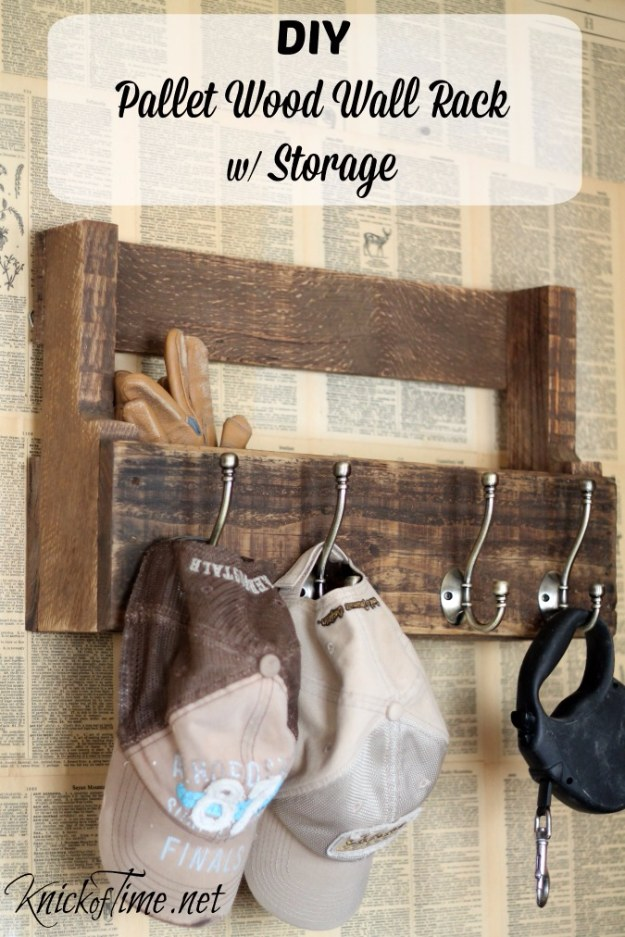 DIY Projects Your Garage Needs -DIY Pallet Wood Rack With Storage - Do It Yourself Garage Makeover Ideas Include Storage, Organization, Shelves, and Project Plans for Cool New Garage Decor #diy #garage #homeimprovement