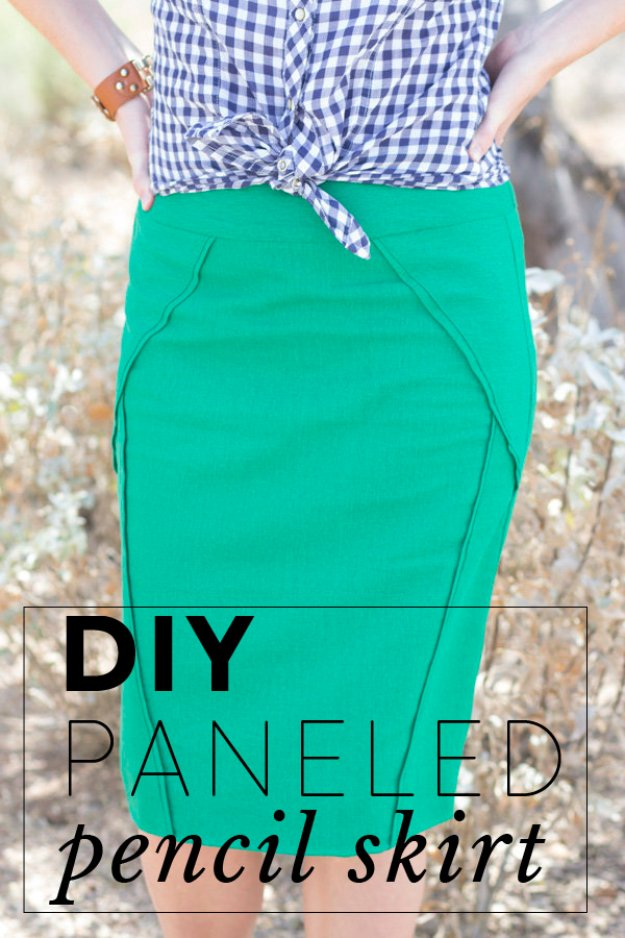 DIY Sewing Projects for Women - DIY Paneled Pencil Skirt - How to Sew Dresses, Blouses, Pants, Tops and Fashion. Step by Step Tutorials and Instructions #sewing #fashion