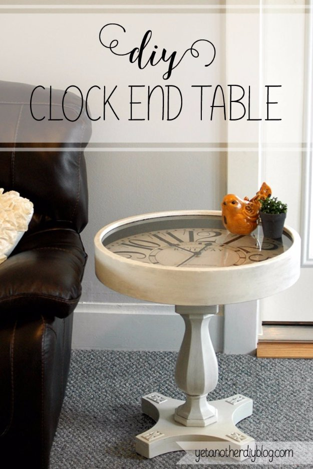 DIY End Tables with Step by Step Tutorials - DIY Pedestal Clock End Table - Cheap and Easy End Table Projects and Plans - Wood, Storage, Pallet, Crate, Modern and Rustic. Bedroom and Living Room Decor Ideas #endtables #diydecor #diy