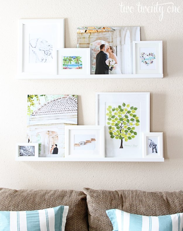 DIY Renters Decor Ideas - DIY Picture Ledge Display - Cool DIY Projects for Those Renting Aparments, Condos or Dorm Rooms - Easy Temporary Wall Art, Contact Paper, Washi Tape and Shelves to Make at Home  #diyhomedecor #diyideas