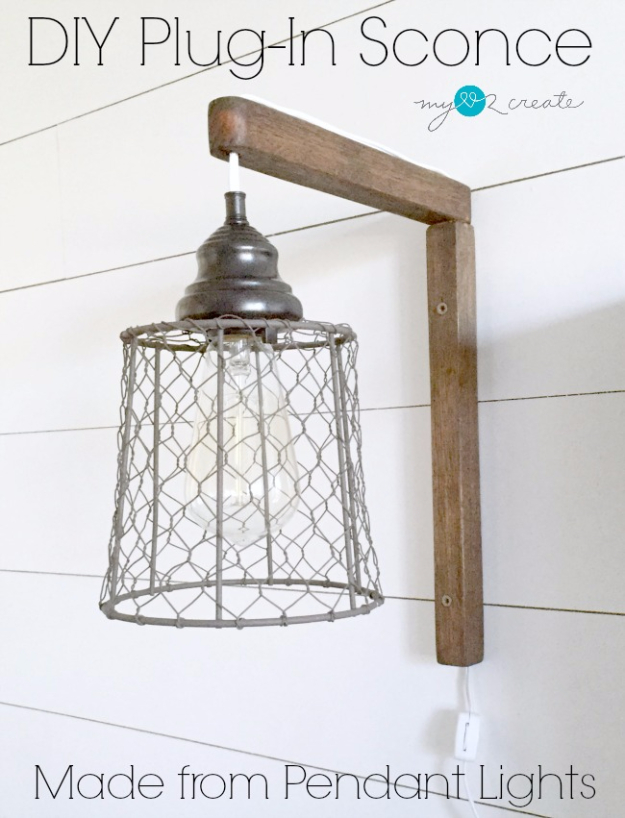 DIY Farmhouse Style Decor Ideas - DIY Plug In Sconce From Pendant Lights - Rustic Ideas for Furniture, Paint Colors, Farm House Decoration for Living Room, Kitchen and Bedroom #diy