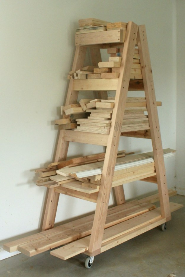 DIY Projects Your Garage Needs -DIY Portable Lumber Rack - Do It Yourself Garage Makeover Ideas Include Storage, Organization, Shelves, and Project Plans for Cool New Garage Decor #diy #garage #homeimprovement