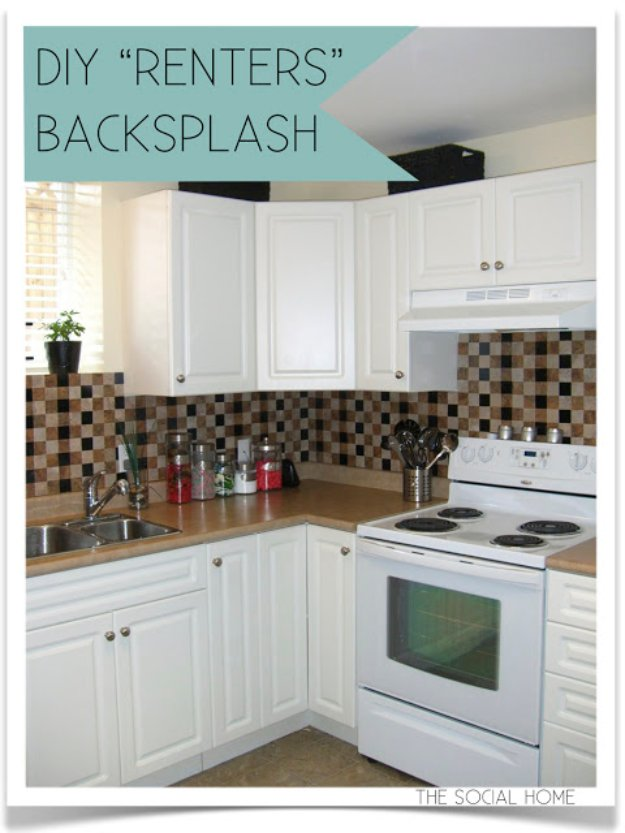 43 clever diy ideas for renters diy joy for Cheap diy kitchen backsplash ideas