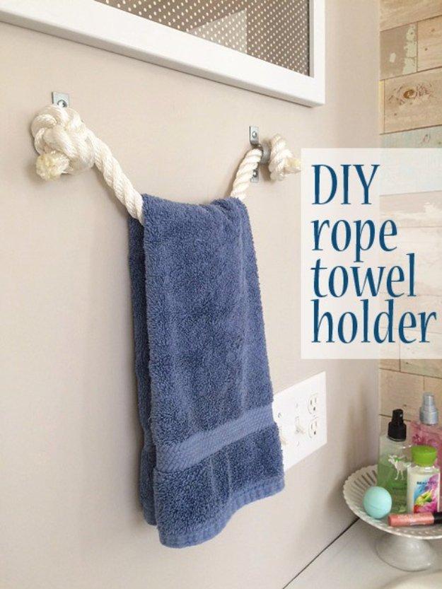 DIY Bathroom Decor Ideas - DIY Rope Towel Holder - Cool Do It Yourself Bath Ideas on A Budget, Rustic Bathroom Fixtures, Creative Wall Art, Rugs mason jar idea bath diy