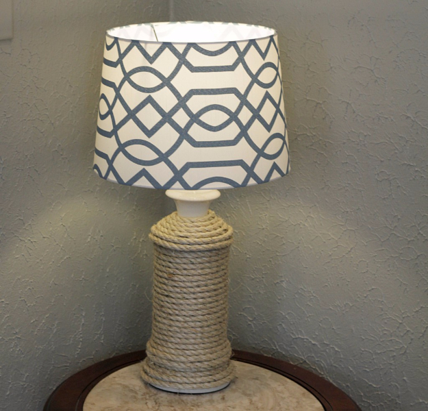DIY Farmhouse Style Decor Ideas - DIY Rope Wrapped Lamp - Rustic Ideas for Furniture, Paint Colors, Farm House Decoration for Living Room, Kitchen and Bedroom http://diyjoy.com/diy-farmhouse-decor-ideas