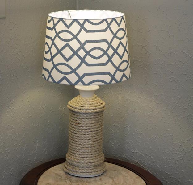 DIY Farmhouse Style Decor Ideas - DIY Rope Wrapped Lamp - Rustic Ideas for Furniture, Paint Colors, Farm House Decoration for Living Room, Kitchen and Bedroom http://diyjoy.com/diy-farmhouse-decor-ideas