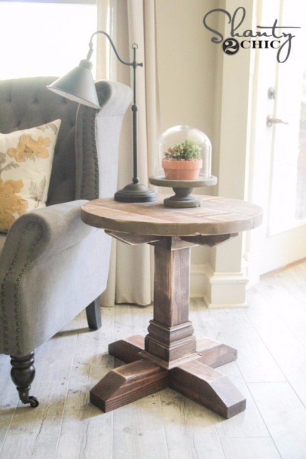 DIY End Tables with Step by Step Tutorials - DIY Round Side Table - Cheap and Easy End Table Projects and Plans - Wood, Storage, Pallet, Crate, Modern and Rustic. Bedroom and Living Room Decor Ideas #endtables #diydecor #diy