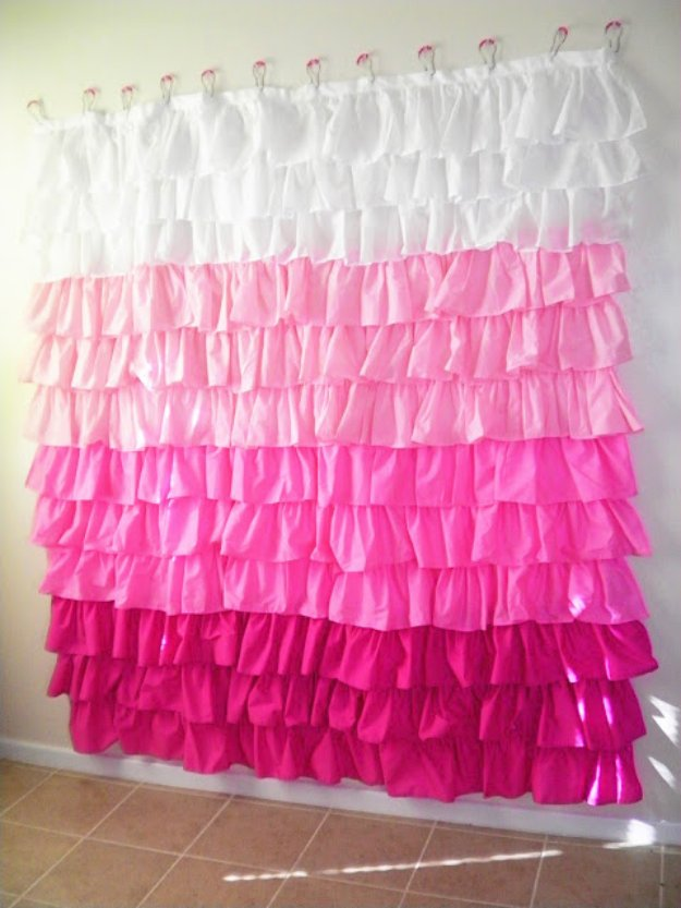 DIY Bathroom Decor Ideas - DIY Ruffled Shower Curtain - Cool Do It Yourself Bath Ideas on A Budget, Rustic Bathroom Fixtures, Creative Wall Art, Rugs mason jar idea bath diy