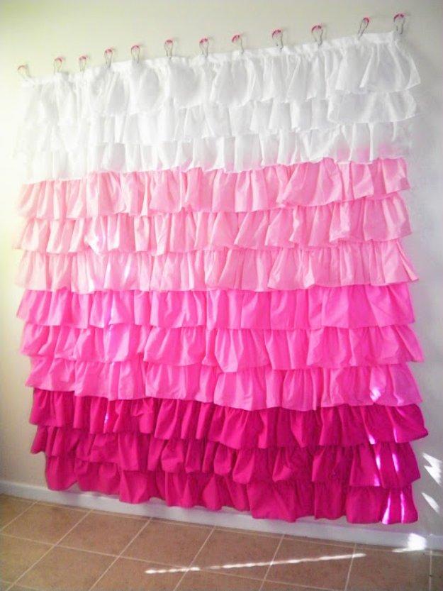 DIY Bathroom Decor Ideas - DIY Ruffled Shower Curtain - Cool Do It Yourself Bath Ideas on A Budget, Rustic Bathroom Fixtures, Creative Wall Art, Rugs mason jar idea bath diy