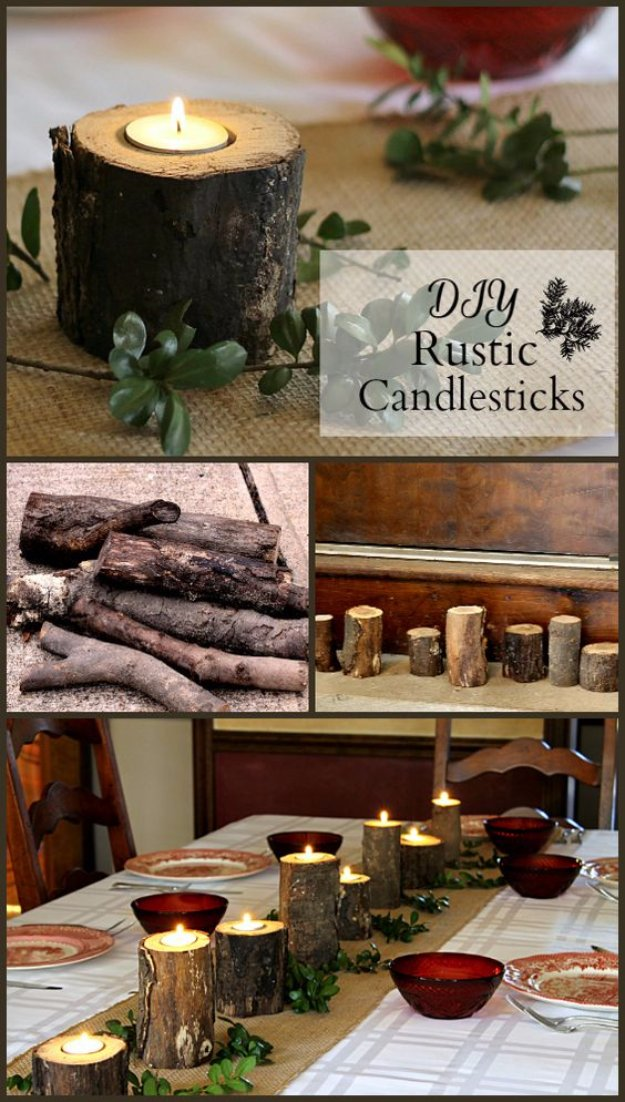 DIY Dining Room Decor Ideas - DIY Rustic Candlesticks - Cool DIY Projects for Table, Chairs, Decorations, Wall Art, Bench Plans, Storage, Buffet, Hutch and Lighting Tutorials