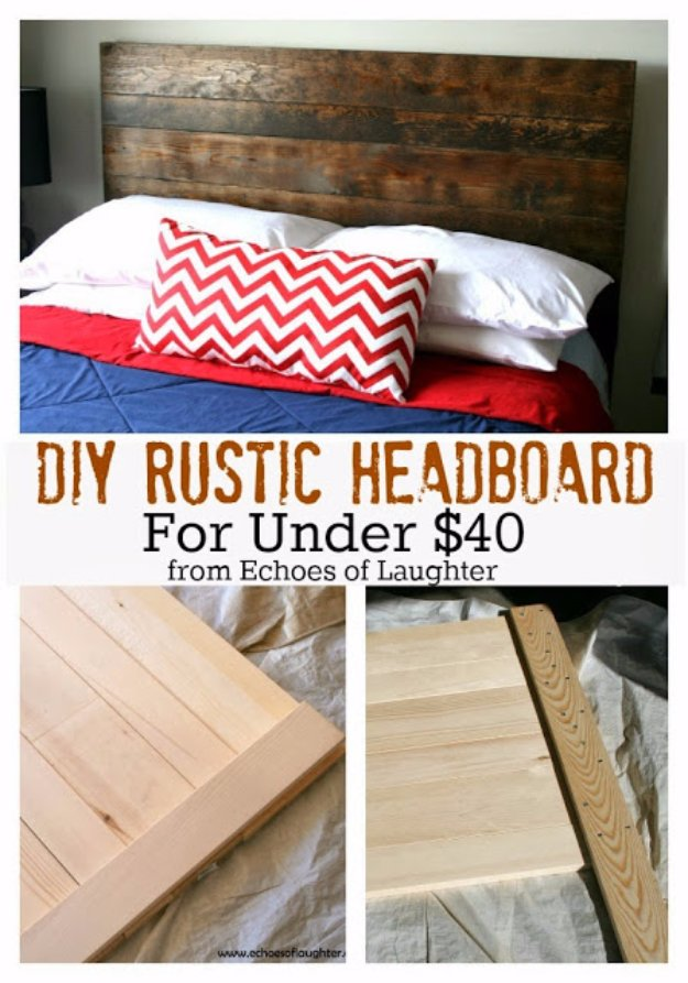 DIY Headboard Ideas - DIY Rustic Headboard - Easy and Cheap Do It Yourself Headboards - Upholstered, Wooden, Fabric Tufted, Rustic Pallet, Projects With Lights, Storage and More Step by Step Tutorials #diy #bedroom #furniture