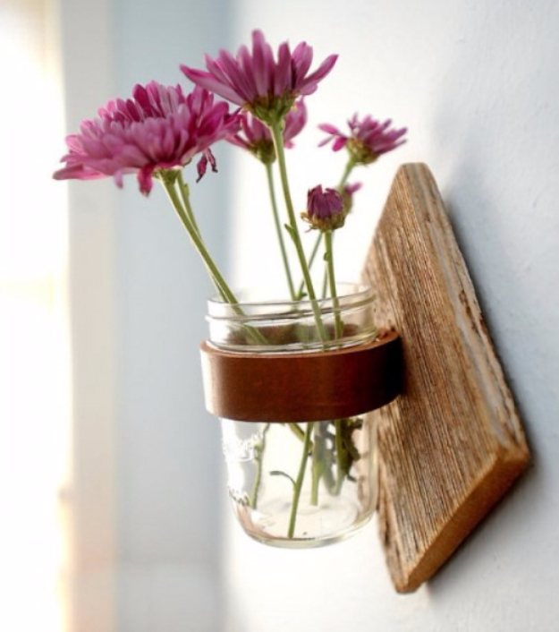 DIY Mason Jar Vases - DIY Rustic Mason Jar Sconce - Best Vase Projects and Ideas for Mason Jars - Painted, Wedding, Hanging Flowers, Centerpiece, Rustic Burlap, Ribbon and Twine http://diyjoy.com/diy-mason-jar-vases
