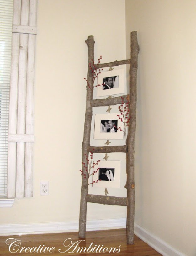 DIY Living Room Decor Ideas - DIY Rustic Photo Ladder - Cool Modern, Rustic and Creative Home Decor - Coffee Tables, Wall Art, Rugs, Pillows and Chairs. Step by Step Tutorials and Instructions