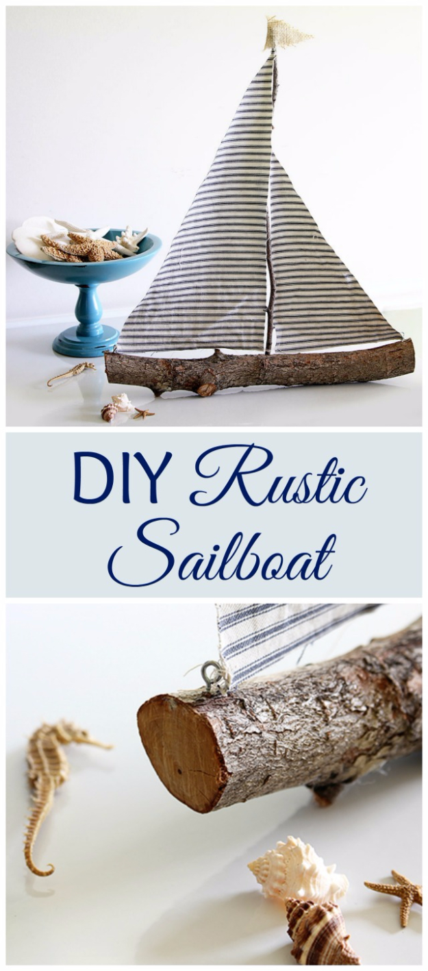 DIY Farmhouse Style Decor Ideas - DIY Rustic Sail Boat - Rustic Ideas for Furniture, Paint Colors, Farm House Decoration for Living Room, Kitchen and Bedroom http://diyjoy.com/diy-farmhouse-decor-ideas