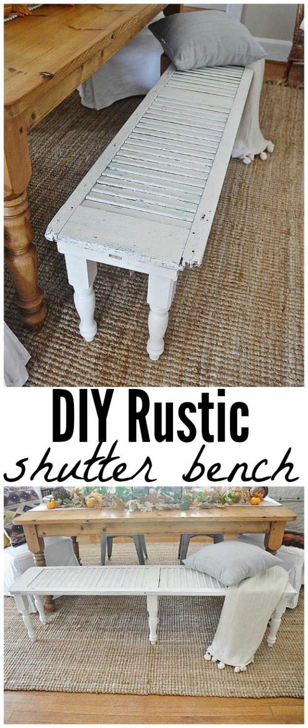 DIY Living Room Decor Ideas - DIY Rustic Shutter Bench - Cool Modern, Rustic and Creative Home Decor - Coffee Tables, Wall Art, Rugs, Pillows and Chairs. Step by Step Tutorials and Instructions