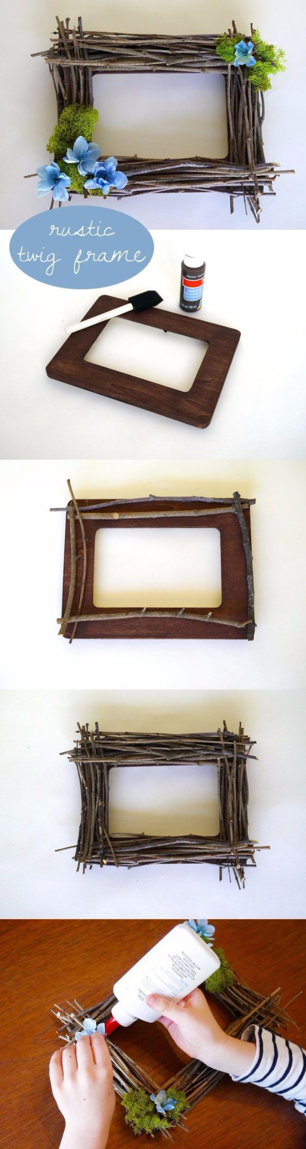 DIY Farmhouse Style Decor Ideas - DIY Rustic Twig Frame - Rustic Ideas for Furniture, Paint Colors, Farm House Decoration for Living Room, Kitchen and Bedroom #diy