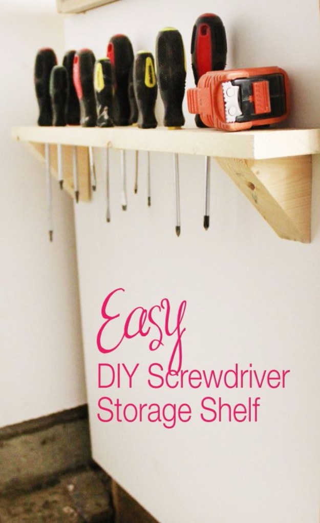 DIY Projects Your Garage Needs -DIY Screwdriver Storage - Do It Yourself Garage Makeover Ideas Include Storage, Organization, Shelves, and Project Plans for Cool New Garage Decor #diy #garage #homeimprovement