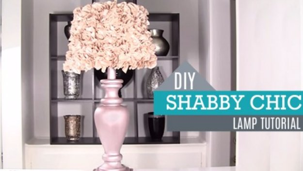 DIY Living Room Decor Ideas - DIY Shabby Chic Lamp Tutorial - Cool Modern, Rustic and Creative Home Decor - Coffee Tables, Wall Art, Rugs, Pillows and Chairs. Step by Step Tutorials and Instructions