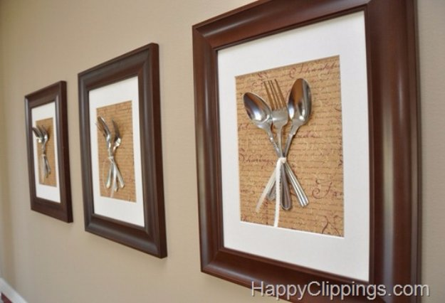 DIY Kitchen Decor Ideas - DIY Silverware Wall Art - Creative Furniture Projects, Accessories, Countertop Ideas, Wall Art, Storage, Utensils, Towels and Rustic Furnishings #diyideas #kitchenideass