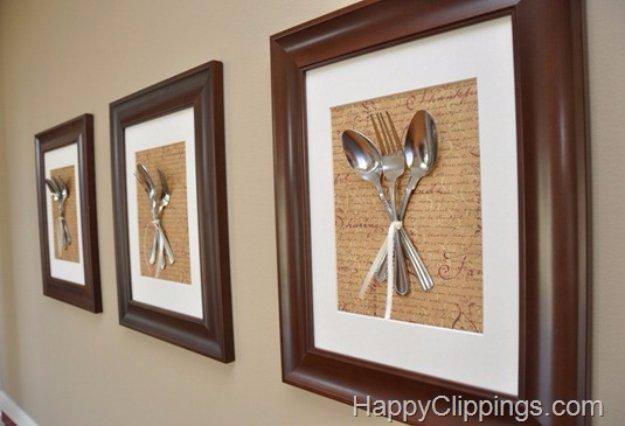 DIY Kitchen Decor Ideas - DIY Silverware Wall Art - Creative Furniture Projects, Accessories, Countertop Ideas, Wall Art, Storage, Utensils, Towels and Rustic Furnishings #diyideas #kitchenideass