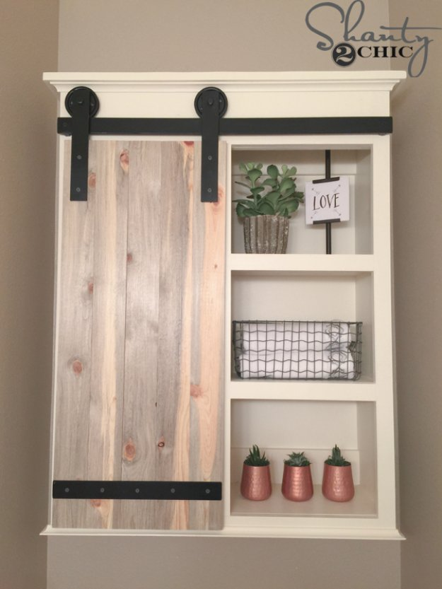 DIY Bathroom Decor Ideas - DIY Sliding Barn Door Bathroom Cabinet - Cool Do It Yourself Bath Ideas on A Budget, Rustic Bathroom Fixtures, Creative Wall Art, Rugs mason jar idea bath diy