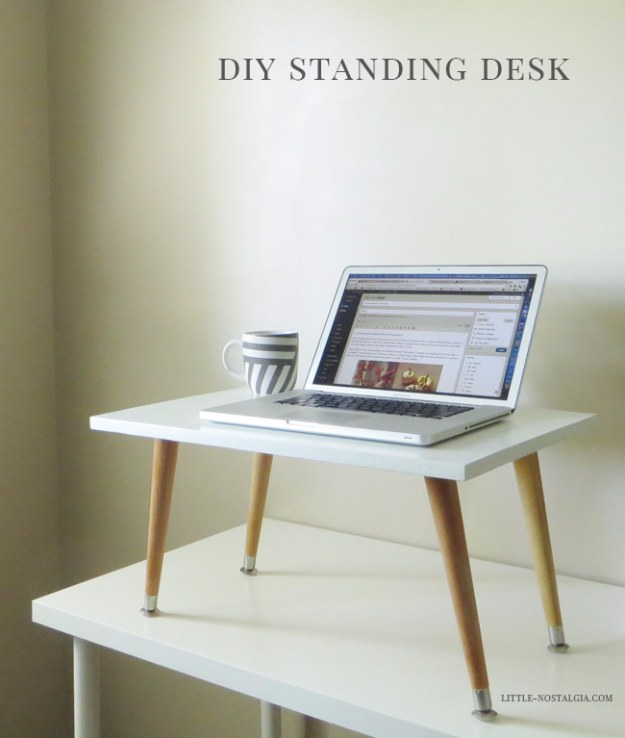 DIY Home Office Decor Ideas - DIY Standing Desk - Do It Yourself Desks, Tables, Wall Art, Chairs, Rugs, Seating and Desk Accessories for Your Home Office #office #diydecor #diy