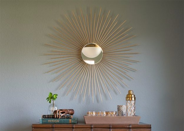 DIY Living Room Decor Ideas - DIY Sunburst Mirror - Cool Modern, Rustic and Creative Home Decor - Coffee Tables, Wall Art, Rugs, Pillows and Chairs. Step by Step Tutorials and Instructions