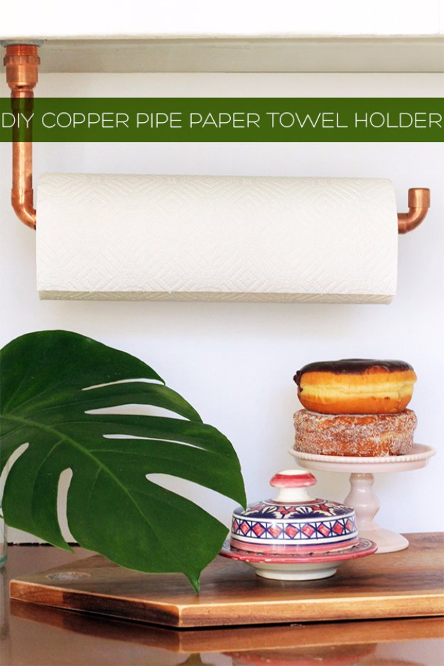 DIY Kitchen Decor Ideas - DIY Suspended Copper Pipe Paper Towel Holder - Creative Furniture Projects, Accessories, Countertop Ideas, Wall Art, Storage, Utensils, Towels and Rustic Furnishings #diyideas #kitchenideass