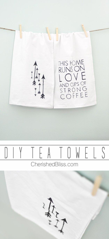 DIY Kitchen Decor Ideas - DIY Tea Towels - Creative Furniture Projects, Accessories, Countertop Ideas, Wall Art, Storage, Utensils, Towels and Rustic Furnishings #diyideas #kitchenideass