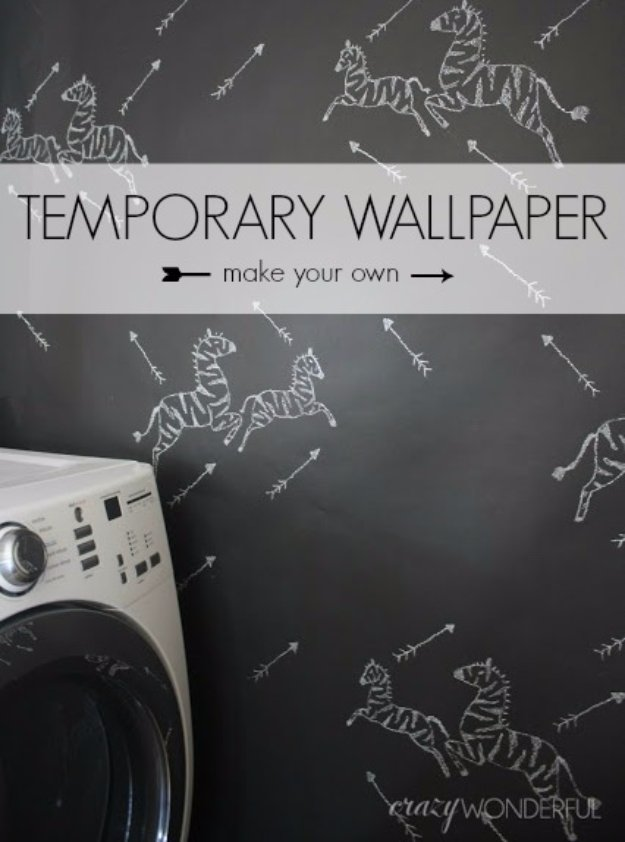 DIY Renters Decor Ideas - DIY Temporary Wallpaper - Cool DIY Projects for Those Renting Aparments, Condos or Dorm Rooms - Easy Temporary Wall Art, Contact Paper, Washi Tape and Shelves to Make at Home #diyhomedecor #diyideas
