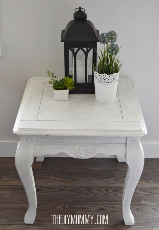 DIY End Tables with Step by Step Tutorials - DIY Upcycled Coloured Wax Side Table - Cheap and Easy End Table Projects and Plans - Wood, Storage, Pallet, Crate, Modern and Rustic. Bedroom and Living Room Decor Ideas #endtables #diydecor #diy