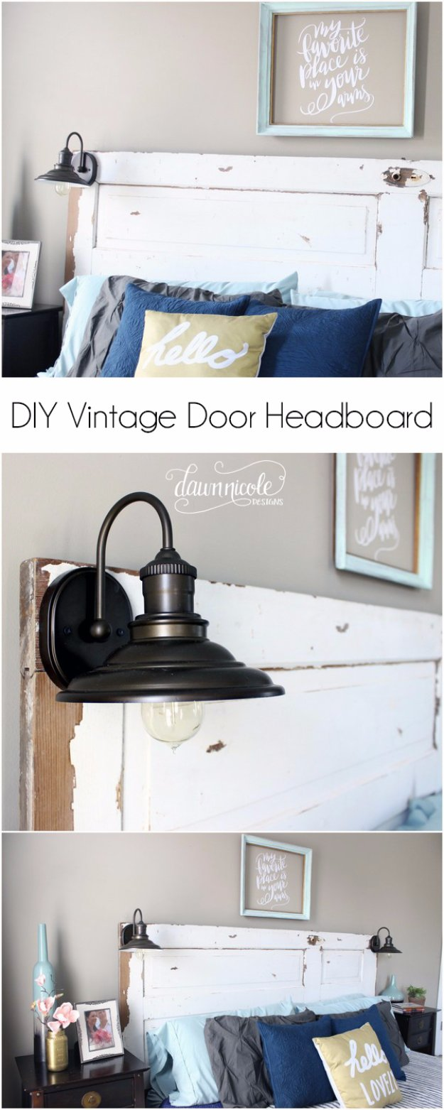 DIY Headboard Ideas - DIY Vintage Door Headboard - Easy and Cheap Do It Yourself Headboards - Upholstered, Wooden, Fabric Tufted, Rustic Pallet, Projects With Lights, Storage and More Step by Step Tutorials http://diyjoy.com/diy-headboards