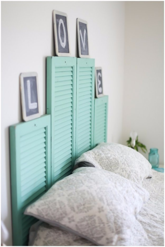 DIY Headboard Ideas - DIY Vintage Shutter Headboard - Easy and Cheap Do It Yourself Headboards - Upholstered, Wooden, Fabric Tufted, Rustic Pallet, Projects With Lights, Storage and More Step by Step Tutorials #diy #bedroom #furniture