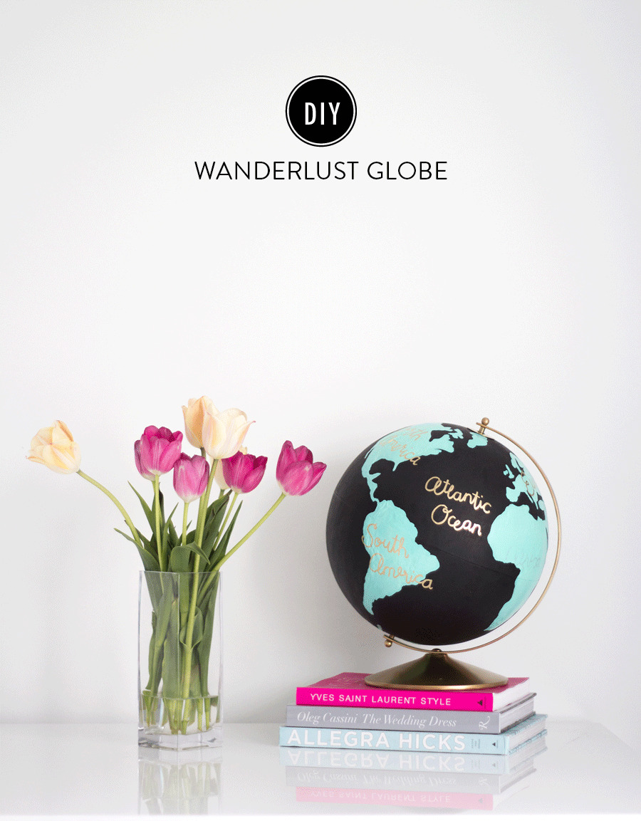 DIY Renters Decor Ideas - DIY Wanderlust Globe - Cool DIY Projects for Those Renting Aparments, Condos or Dorm Rooms - Easy Temporary Wall Art, Contact Paper, Washi Tape and Shelves to Make at Home  #diyhomedecor #diyideas