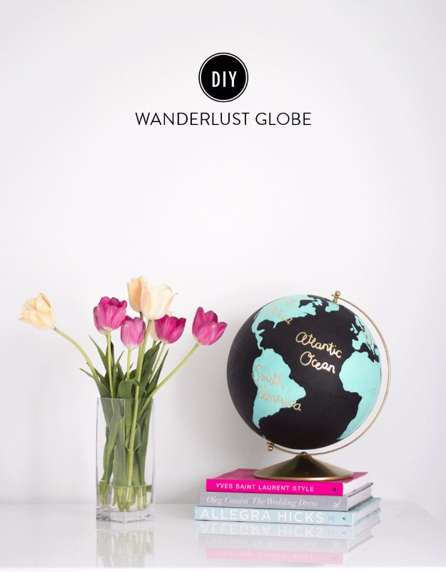 38 brilliant home office decor projects diy joy diy home office decor ideas diy wanderlust globe do it yourself desks tables solutioingenieria Images