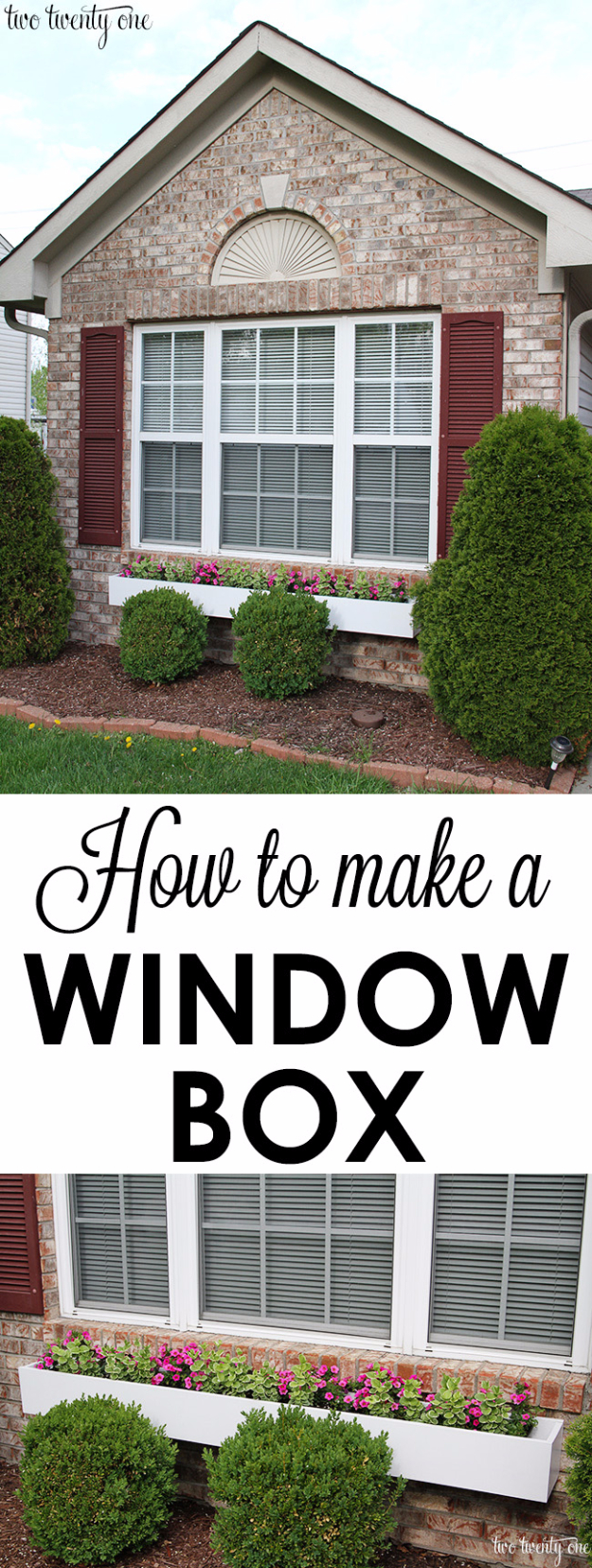 Creative Ways to Increase Curb Appeal on A Budget - DIY Window Box - Cheap and Easy Ideas for Upgrading Your Front Porch, Landscaping, Driveways, Garage Doors, Brick and Home Exteriors. Add Window Boxes, House Numbers, Mailboxes and Yard Makeovers http://diyjoy.com/diy-curb-appeal-ideas