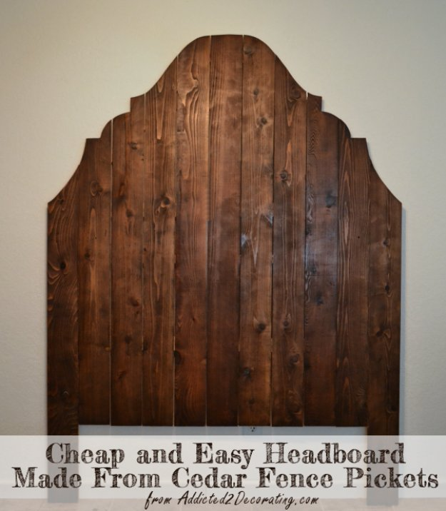 DIY Headboard Ideas - DIY Wood Headboard From Cedar Fence Pickets - Easy and Cheap Do It Yourself Headboards - Upholstered, Wooden, Fabric Tufted, Rustic Pallet, Projects With Lights, Storage and More Step by Step Tutorials #diy #bedroom #furniture