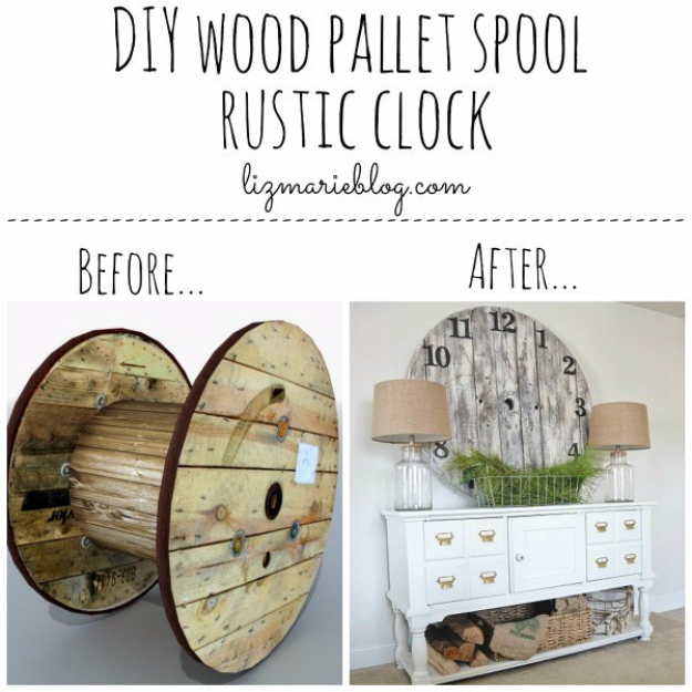 DIY Farmhouse Style Decor Ideas - DIY Wood Pallet Spool Rustic Clock - Rustic Ideas for Furniture, Paint Colors, Farm House Decoration for Living Room, Kitchen and Bedroom #diy