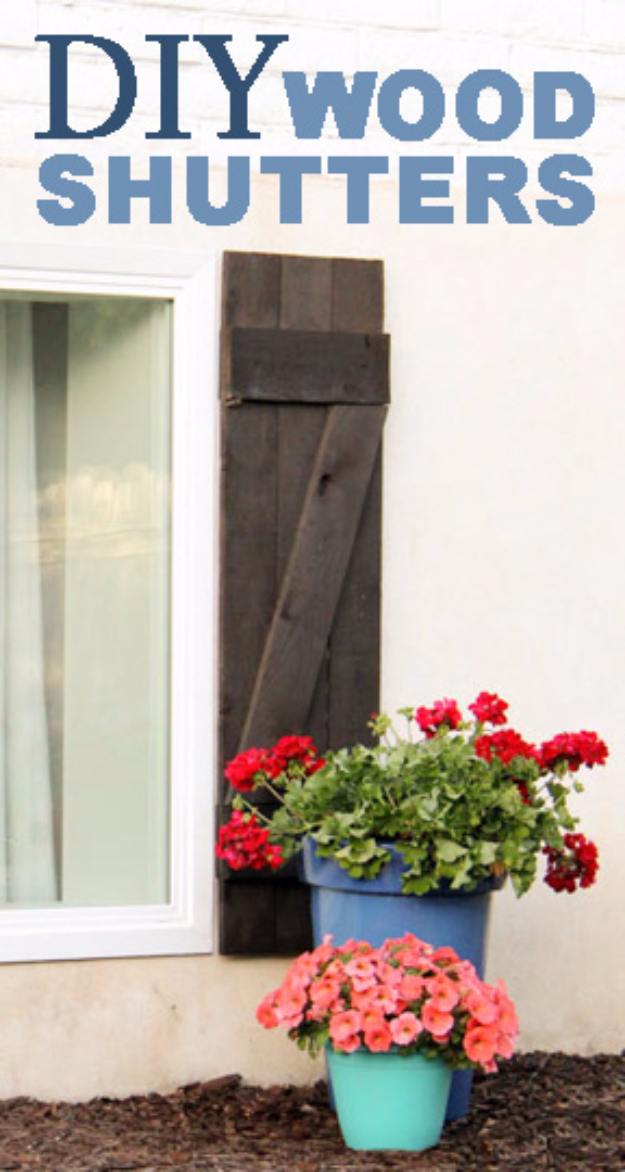 Creative Ways to Increase Curb Appeal on A Budget - DIY Wood Shutters - Cheap and Easy Ideas for Upgrading Your Front Porch, Landscaping, Driveways, Garage Doors, Brick and Home Exteriors. Add Window Boxes, House Numbers, Mailboxes and Yard Makeovers http://diyjoy.com/diy-curb-appeal-ideas