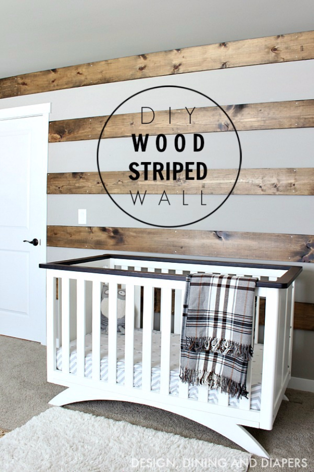 DIY Farmhouse Style Decor Ideas - DIY Wood Striped Wall - Rustic Ideas for Furniture, Paint Colors, Farm House Decoration for Living Room, Kitchen and Bedroom #diy