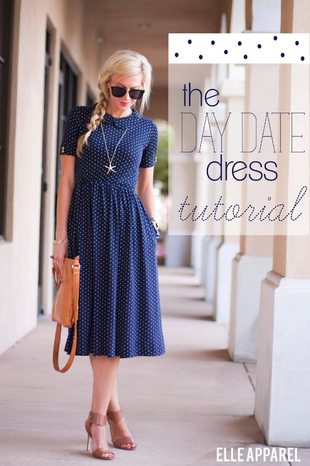 DIY Sewing Projects for Women - Day Date Dress Tutorial - How to Sew Dresses, Blouses, Pants, Tops and Fashion. Step by Step Tutorials and Instructions #sewing #fashion