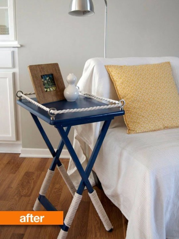 DIY End Tables with Step by Step Tutorials - Decked TV Tray End Table - Cheap and Easy End Table Projects and Plans - Wood, Storage, Pallet, Crate, Modern and Rustic. Bedroom and Living Room Decor Ideas #endtables #diydecor #diy