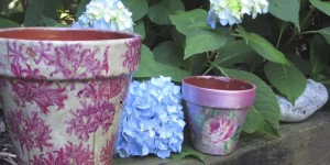 How to Decoupage and Weatherproof Clay Pots…They're Beautiful!