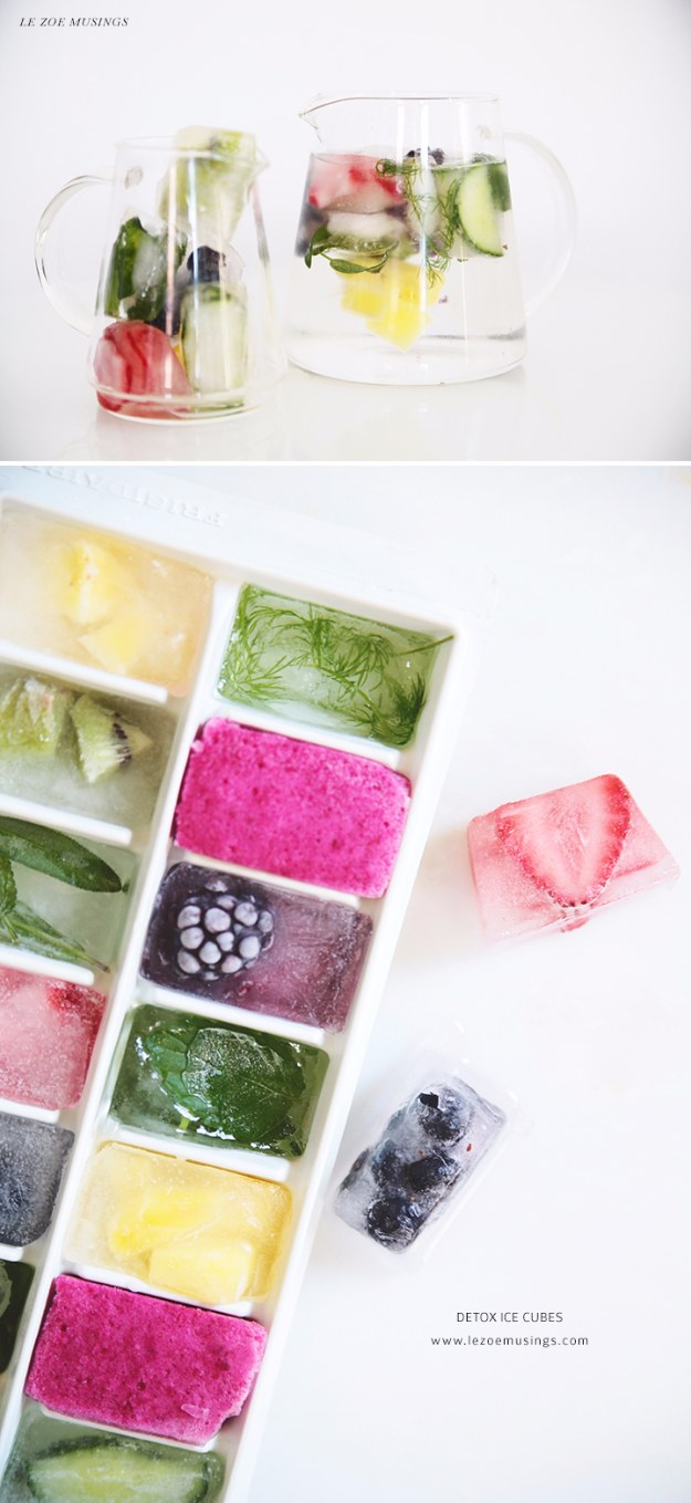DIY Detox Recipes, Ideas and Tips - Detox Ice Cubes - How to Detox Your Body, Brain and Skin for Health and Weight Loss. Detox Drinks, Waters, Teas, Wraps, Soup, Masks and Skincare Products You Can Make At Home