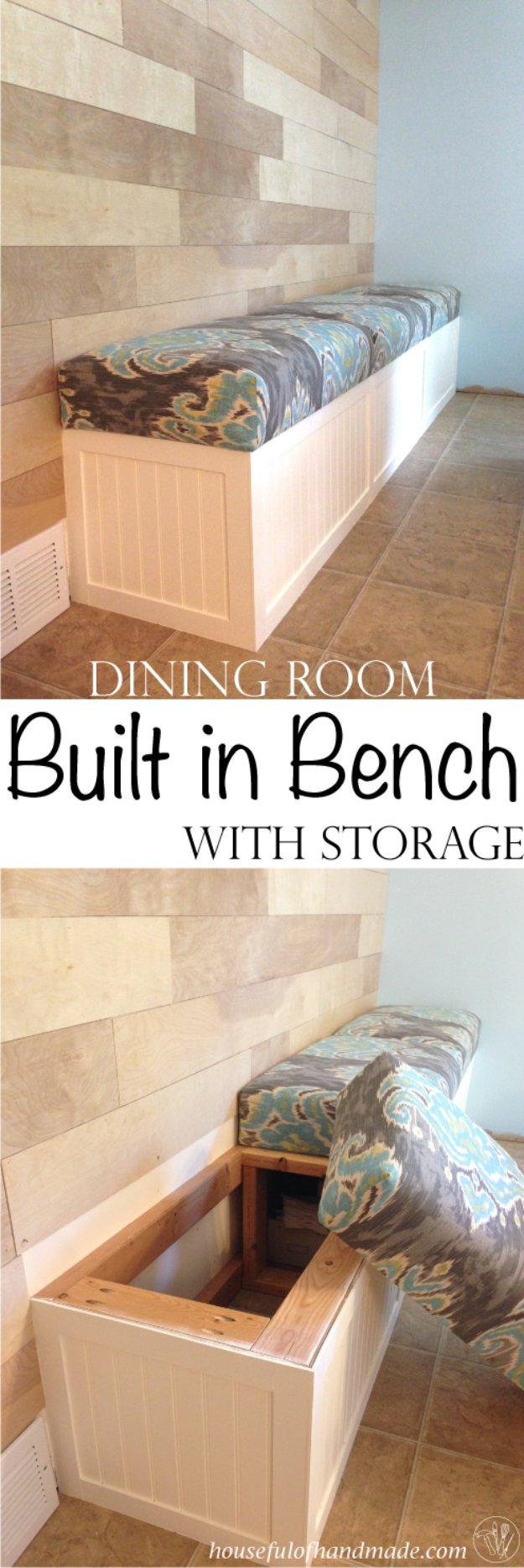 DIY Dining Room Decor Ideas - Dining Room Built In Bench With Storage - Cool DIY Projects for Table, Chairs, Decorations, Wall Art, Bench Plans, Storage, Buffet, Hutch and Lighting Tutorials