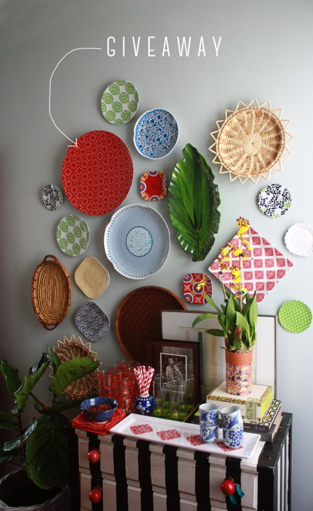 DIY Renters Decor Ideas - Dinnerware Plate Wall - Cool DIY Projects for Those Renting Aparments, Condos or Dorm Rooms - Easy Temporary Wall Art, Contact Paper, Washi Tape and Shelves to Make at Home  #diyhomedecor #diyideas