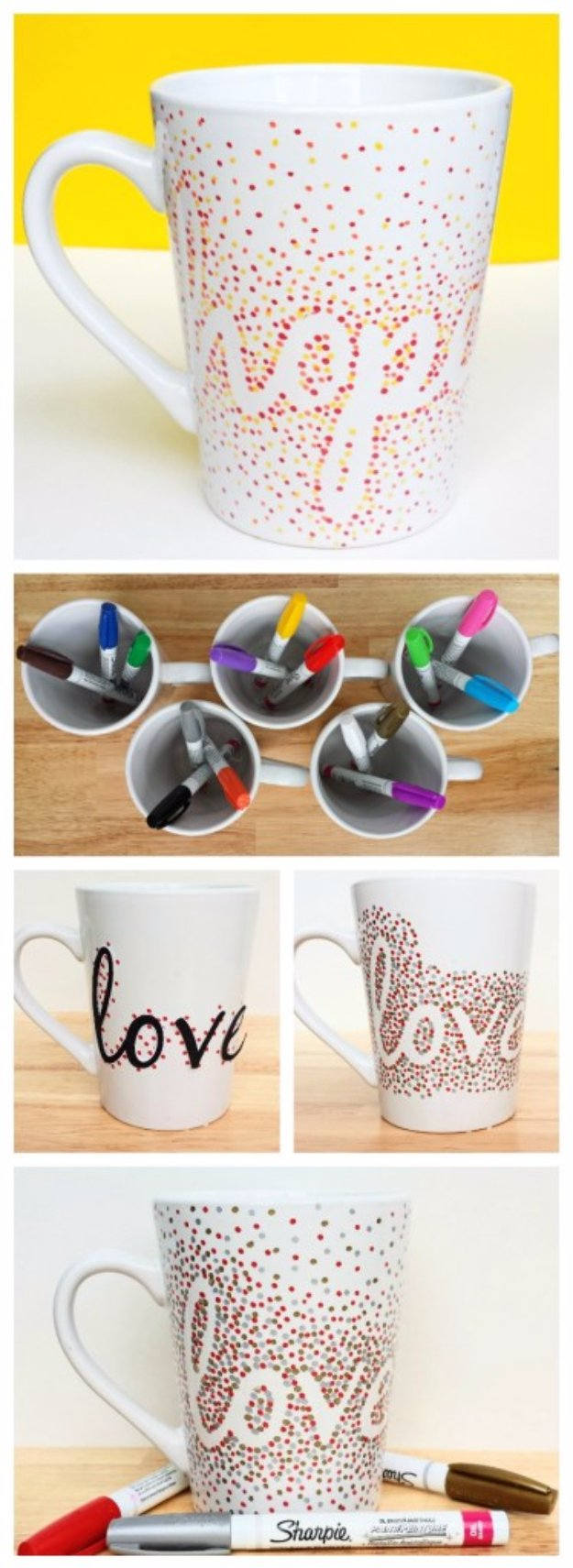 Easy Crafts To Make and Sell - Dotted Sharpie Mugs - Cool Homemade Craft Projects You Can Sell On Etsy, at Craft Fairs, Online and in Stores. Quick and Cheap DIY Ideas that Adults and Even Teens #craftstosell #diyideas #crafts