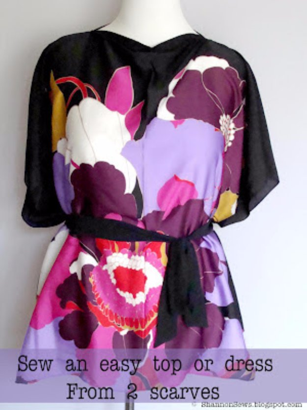 DIY Sewing Projects for Women - Dress From Two Scarves Tutorial - How to Sew Dresses, Blouses, Pants, Tops and Fashion. Step by Step Tutorials and Instructions #sewing #fashion