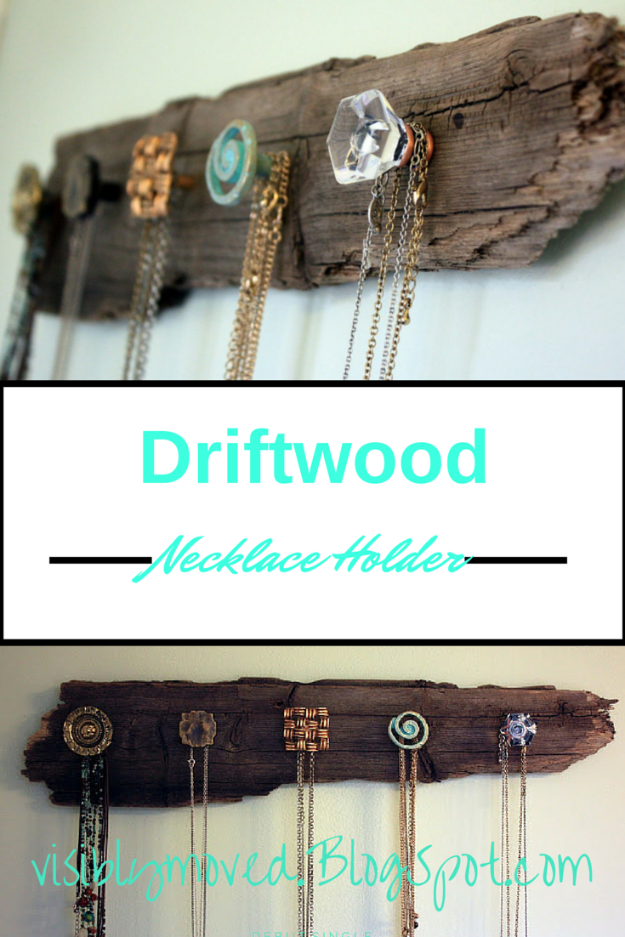 DIY Farmhouse Style Decor Ideas - Driftwood Necklace Holder - Rustic Ideas for Furniture, Paint Colors, Farm House Decoration for Living Room, Kitchen and Bedroom #diy